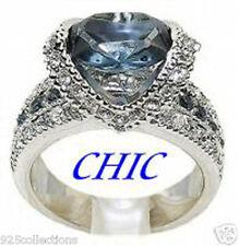 Rhodium Plated Ring Size 5-10 Blue Montana Birthstone Cubic Zirconia Ladies