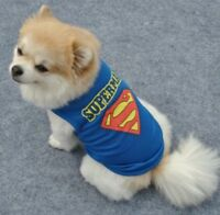 CUTE DOG PUPPY BLUE SUPERMAN LIGHTWEIGHT SPORTY SHIRT TOP JUMPER VEST FREE POST