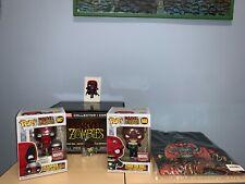 Funko Pop! Marvel Zombies Box Deadpool 667 Red Skull 668 MCC + T-Shirt Size L