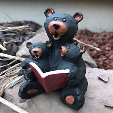 Bear Loves Reading Cubs Carved Wood Look Figurine Statue Read Kids Book L17940