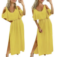 Women's Sexy Solid Color Dress Slit Party Dress Short Sleeve Maxi Dress Sundress