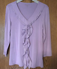 COLDWATER CREEK Shirt Ruffled Top Stretch Blouse Jersey Knit Lavender Women's S