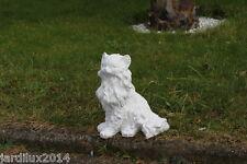 Statue chat Angora en pierre reconstituée, ton pierre blanche