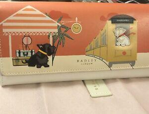 Radley London All Aboard Large Wallet, Train, Scottie DOGS,  NWT