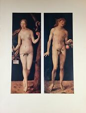 "1955 Vintage Full Color Art Plate ""ADAM AND EVE"" By DURER Lithograph Lovely"