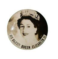 """Vintage Her Majesty Queen Elizabeth II Pinback Button Coronation 1 5/8"""" Round"""