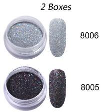 2 Boxes Gradient Glitter Powder Glitter Sliver Nail Art Powders Nail Decoration