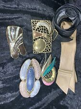 Calderon Belt and Luciano Buckle With Other Vintage Metal & ?Snakeskin Buckles