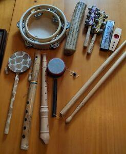Set of  Kid's Band Instruments - Rainstick, Tambourine, Flutes, Drums