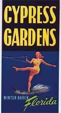 Cypress Gardens  Florida Water Skier Vintage 1950's Style Travel Decal Sticker