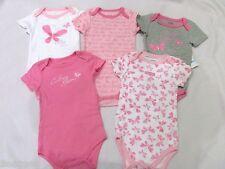 CALVIN KLEIN BABY GIRLS PINK WHITE ONE PIECE BODYSUITS SET OF 5 Size 0-3m