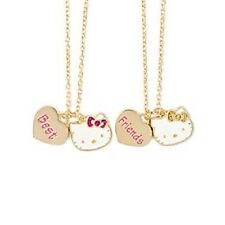 Hello Kitty Glitter Bow Best Friends BFF Pendant Necklaces Set of 2 Sanrio NWT