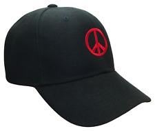 Peace Sign Symbol Black & Red Adjustable Curved Bill Baseball Cap Caps Hat Hats