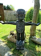 More details for hand carved made wooden timor style tribal art man statue sculpture ornament