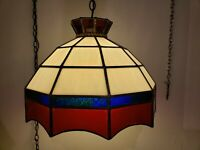 Vintage Mid Century Swag Pendant Lamp w Diffuser Globe Glass Red White & Blue
