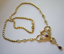 Vintage 18ct 18k Gold Ruby Diamond Lavaliere Style Necklace