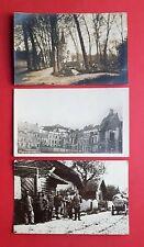 3 x Militär Foto AK 1. WK Frankreich ? Kirche mit Friedhof, Marktplatz   ( 35564