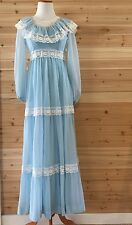 Vintage 70s Pale Blue Lace Maxi Long Prom Dress Gown Ruffle Sheer Wedding XS S