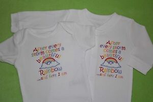 After a storm beautiful rainbow here I am embroidered baby vest & sleepsuit set
