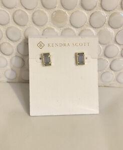 Kendra Scott Lady Silver Stud Earrings in Silver Gray Druzy