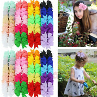 40 Pcs 3.5in Boutique Grosgrain Ribbon Baby Girls Hair Bows with Clips for Teens