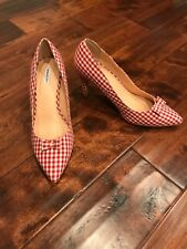 Marais USA Red & White Check Gingham Pointed Toe Shoes W/ Bows, Size 10