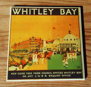 Whitley Bay railway poster ceramic coaster (8 designs available)