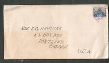 Japan occupation of Korea 1931 cover Dairen/Dalian to Mrs Sg Hawkins Portland Or