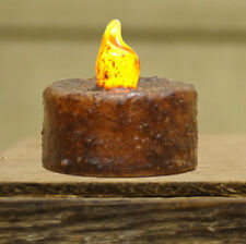 Primitive/Country  Burnt Mustard GRUBBY Tealight Candles 3 pc set