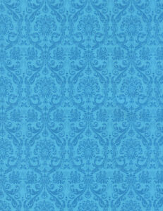 Fabric Flower Turquoise Damask Tapestry TIMELESS TREASURES 4186 on Cotton 1/4 Yd