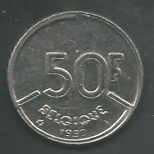 BELGIUM,  1990,   50 FRANCS,  NICKEL,   KM#168,    CHOICE ALMOST UNCIRCULATED