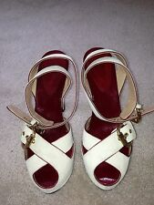 Authentic Giuseppe Zanotti Off White Suede-Wooden Platform Sandals Size 39.5