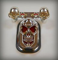 Feu arrière support de plaque Tête de Mort + Clignotants Skull - moto custom