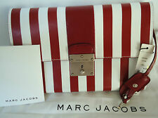 NEW $1195 Marc Jacobs Isobel Leather Stripes Red White Clutch Lock & Key