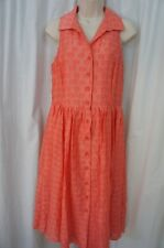 Jones New York Petite Dress Sz 10P Crystal Peach Sleeveless Button Down Business