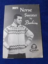 MANS NORSE SWEATER  BY BEEHIVE KNITTING PATTERN CHIEFTAIN NO. 14 VINTAGE