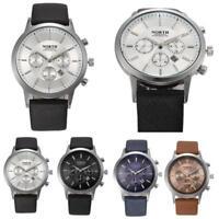Men's Sports Luxury Mens Genuine Leather Band Analog Quartz Watches Wrist Watch