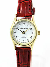 Philip Mercier Ladies Rich Red Quartz Watch with Faux Leather Strap, Easy Read