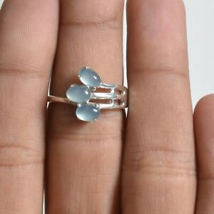 Aqua Chalcedony Three Stone Ring Size 9 Solid Sterling Silver Handmade Jewelry