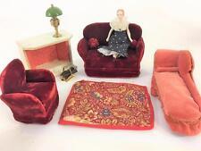 Dollhouse Miniature Vtg Living Room Schoenhut Fireplace Schwarz Couch Doll 11 Pc