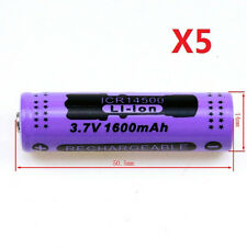 5pcs14500 1600mAh 3.7V Protected Li-ion Rechargeable Battery Batteries New Brand