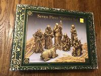 Vintage Caffco Gold Tone Painted Seven Piece Nativity Set Scene