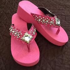 Flip Flops Sandals Bling Ladies Western Cushion Rhinestone Fashion Shoes Size 8
