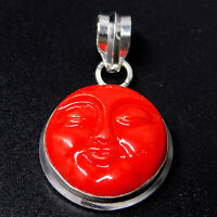 Carved Moon Face 925 Sterling Silver Plated Handmade Jewellery Pendant 3 Gm