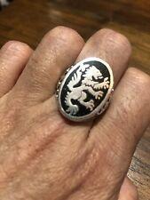 Vintage Lion Crest Silver White Bronze Enamel Leo Ring Size 8