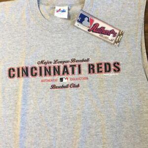 Majestic Cincinnati Reds Gray Sleeveless Tee NEW Men's Large