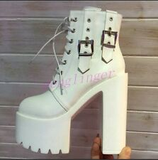 Gothic Womens Leather Buckle Platform Riding Ankle Boots Cosplay Block Heel Shoe