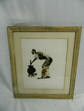 Vintage Framed Butterfly Wing African Art Picture Woman Stirring Pot SEE LISTING