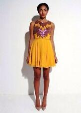 Virgos Lounge mustard Embellished vintage Mini scatter Dress Size 10