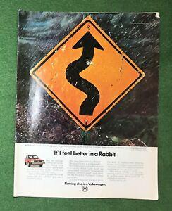 Vintage 1980s magazine ad VOLKSWAGON Rabbit car garage mancave roadsigns